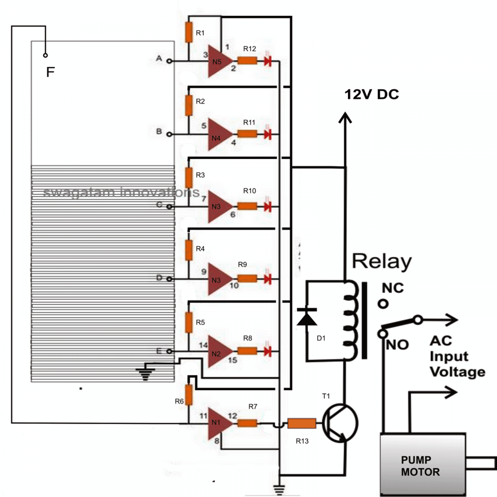 LED Water Level Indicator Circuit with Relay Controller ...