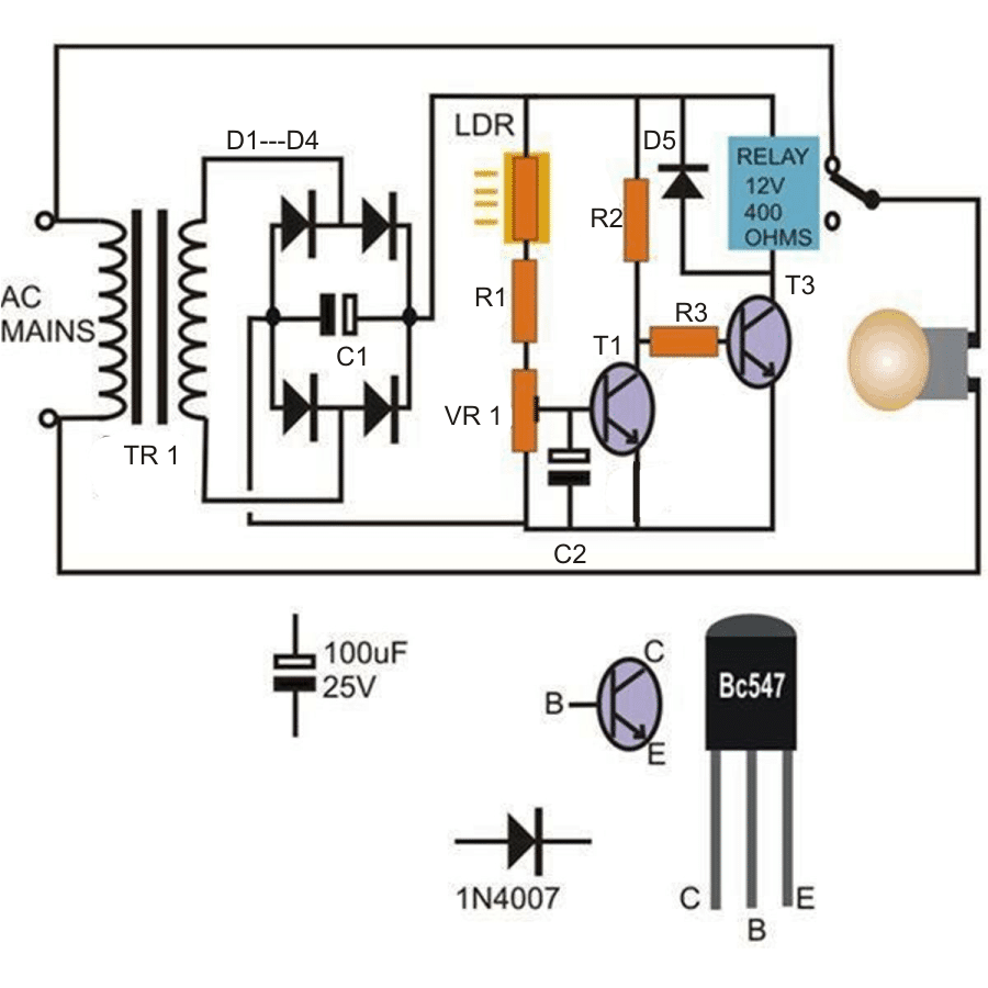 How to make a light activated day night switch circuit science automatic light activated day night switch using transistors asfbconference2016