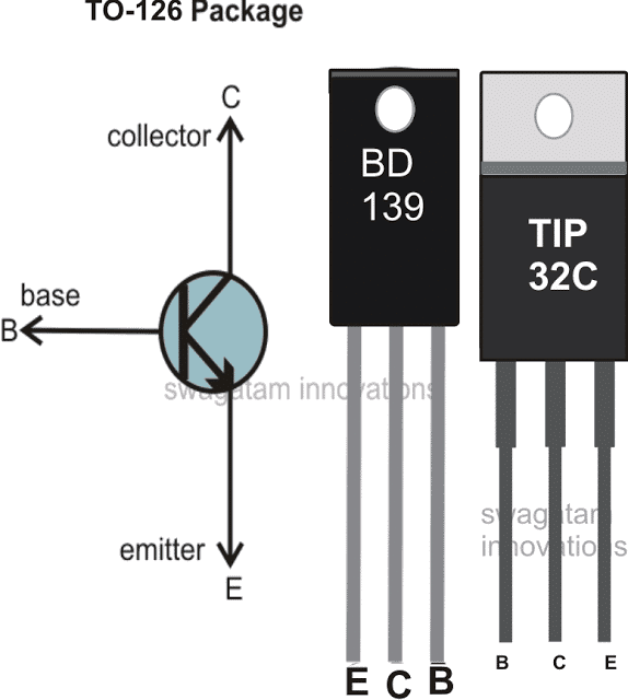 BD139 and TIP32 pinout diagram