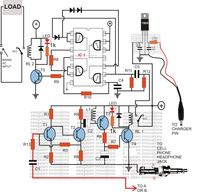 GSM Based Cell Phone Remote Control Switch Circuit Diagram
