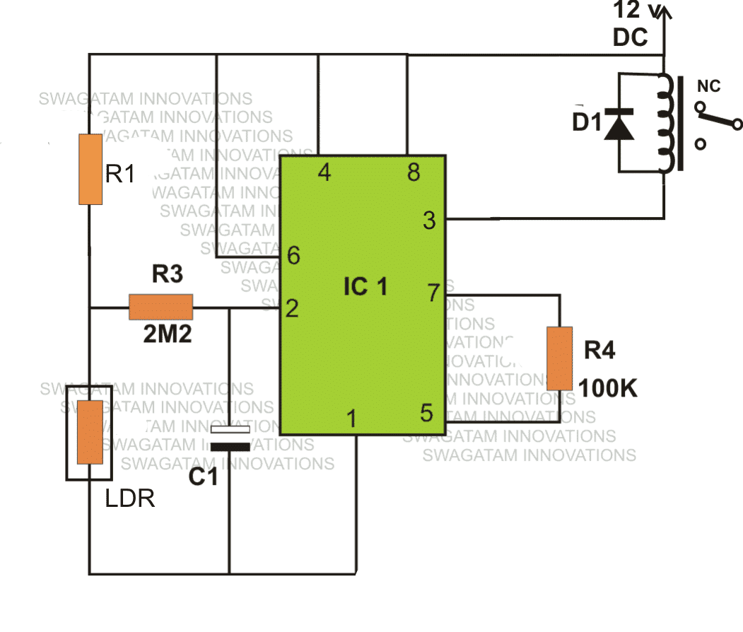 Light Activated Day Night Switch Circuit Science Fair Project Ic 555 Projects Relay Using