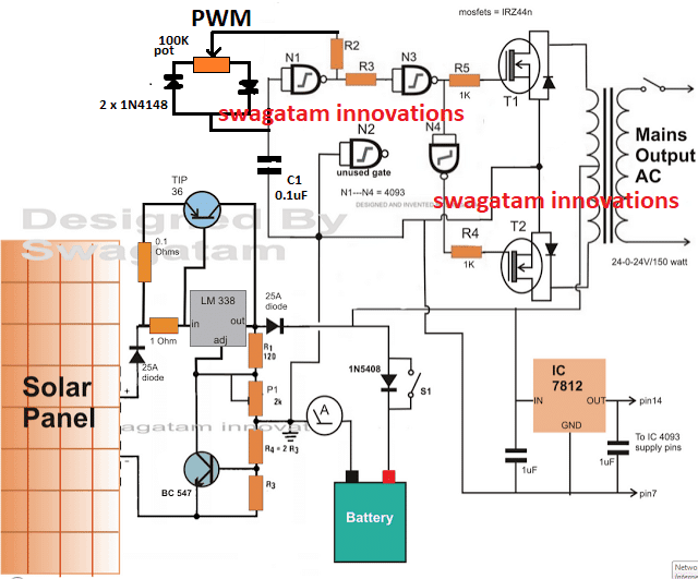 PWM controlled solar inverter circuit