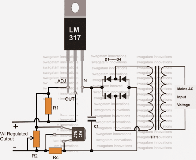 Simple LM317 battery charger circuit with current control