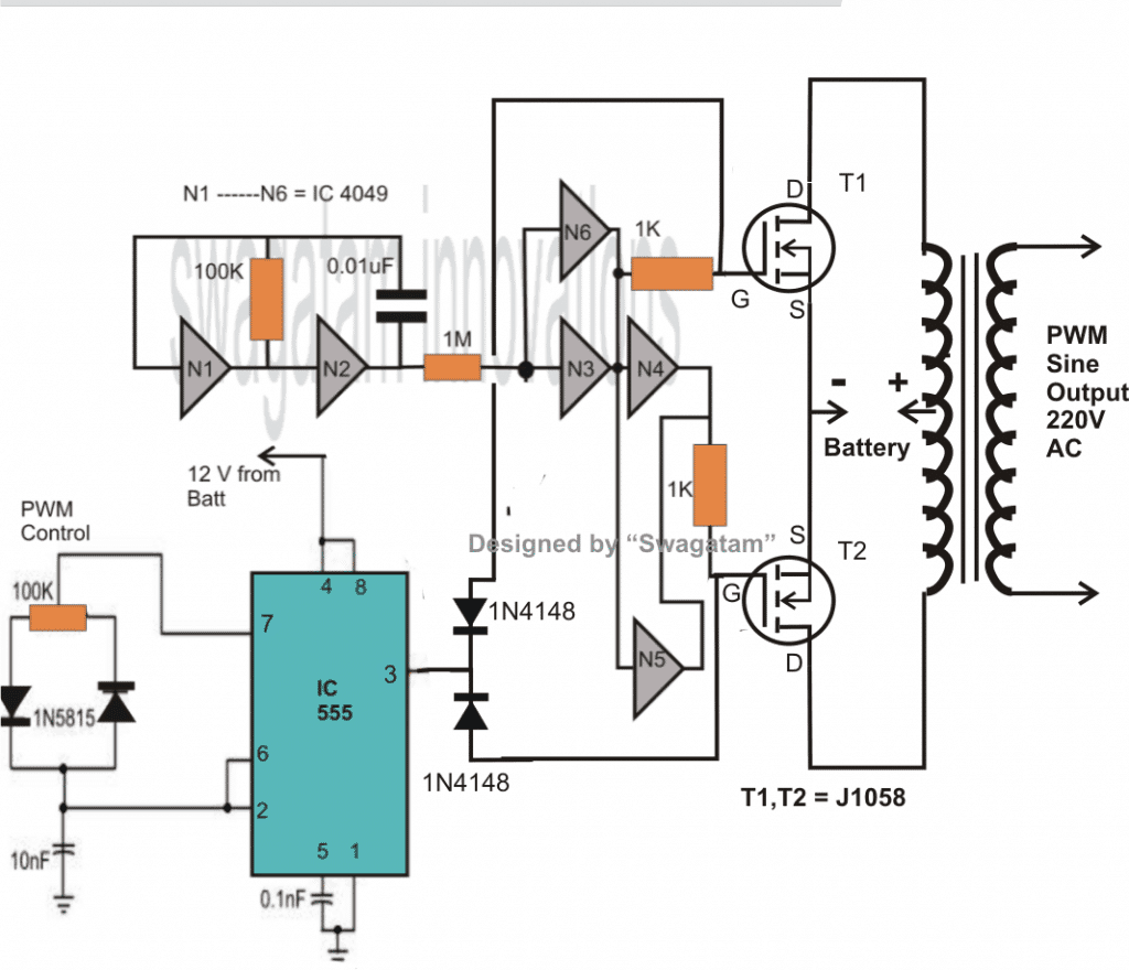 7 Modified Sine Wave Inverter Circuits Explored 100w To 3kva Transformerless Solar Circuit Homemade Projects The Design Shown Below Would Provide About 150 Watts Of Power For Obtaining 500 More Number Mosfets May Be Required Connected In Parallel