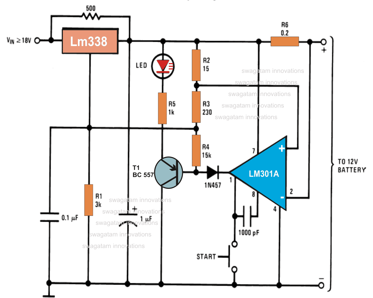 12v Battery Charger Circuit Automatic Diagram 6v Or Lead Acid Using Lm317 12 Volt Ic Lm 5a