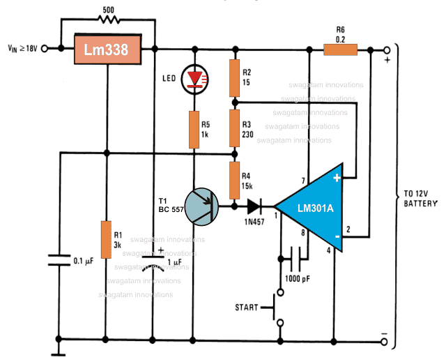 Compact 12 volt Battery Charger Using IC LM 338 and LM301 circuit diagram