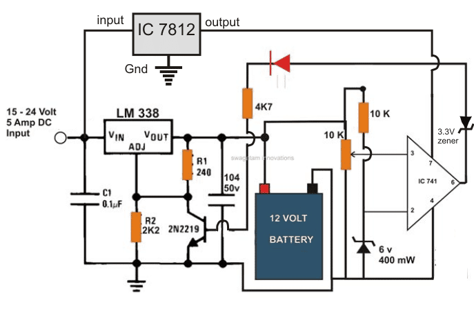 2 best 6v 4ah automatic battery charger circuits using relay and rh homemade circuits com