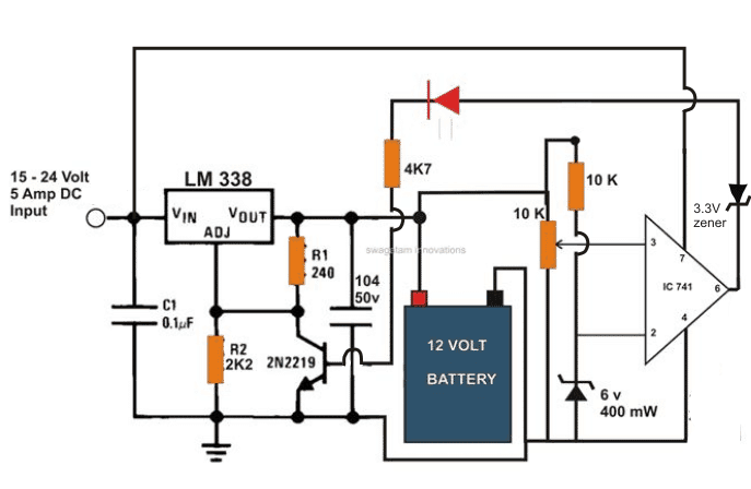 12 volt battery wiring diagram moreover schematic diagram of primary 6v 12v 24v battery charger homemade circuit projects rh homemade circuits com swarovskicordoba Image collections