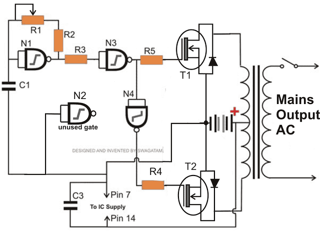 IC 4093 with mosfet inverter circuit