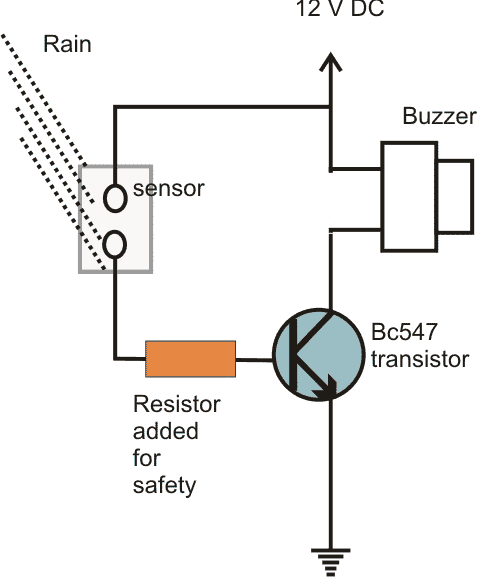 transistor with base limiting resistor and sensor