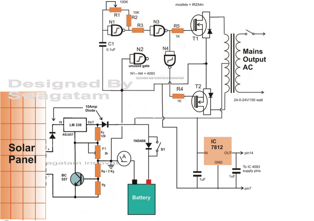 Solar Inverter Diagram Wiring For You Of A Panel How To Make Simple Circuit Homemade Projects Line