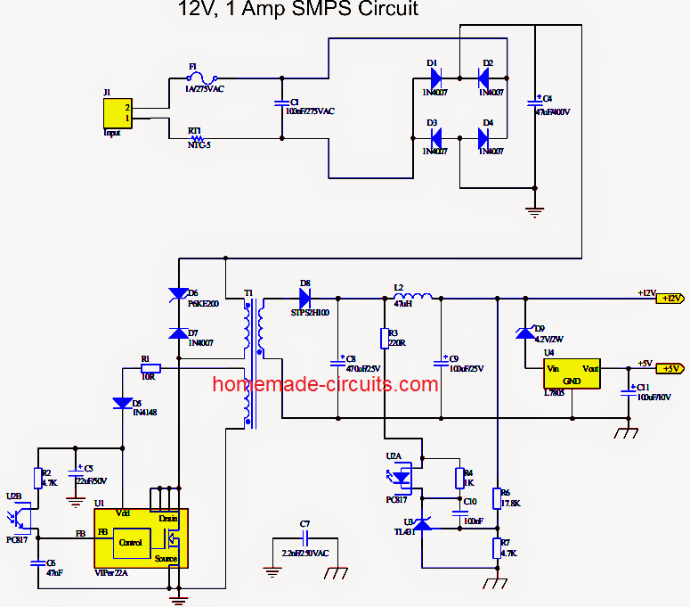 Simple 12 V, 1 Amp Switch Mode Power Supply (SMPS) - Homemade ...