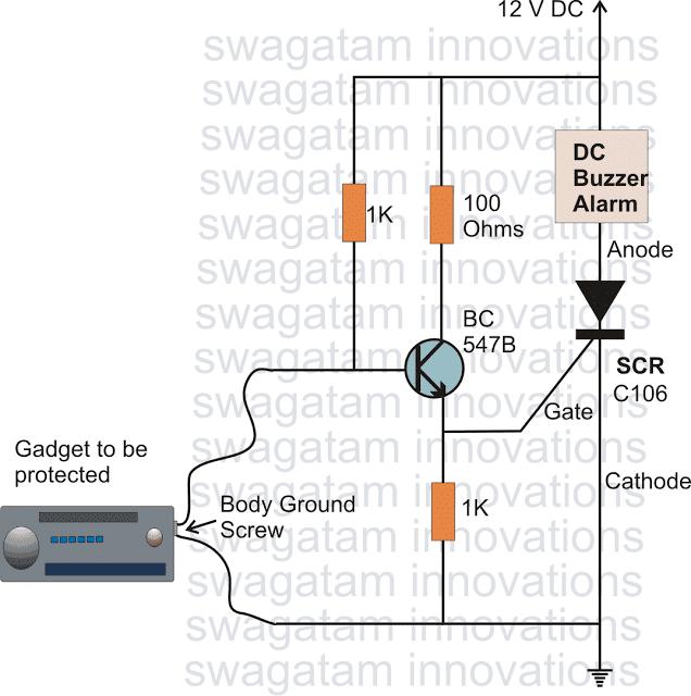 SCR burglar alarm circuit