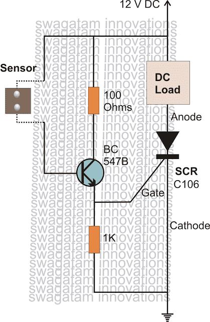 SCR based rain alarm circuit
