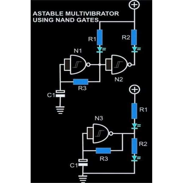 Astable Multivibrator Circuit Using Nand Gates Homemade