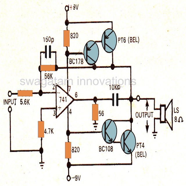 Power Amplifier Circuit using an opamp