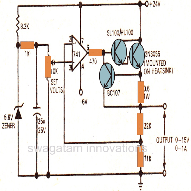 Regulated Power Supply Circuit using opamp