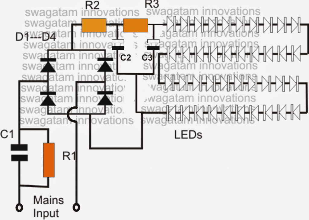 led bulb circuit using high voltage capacitor