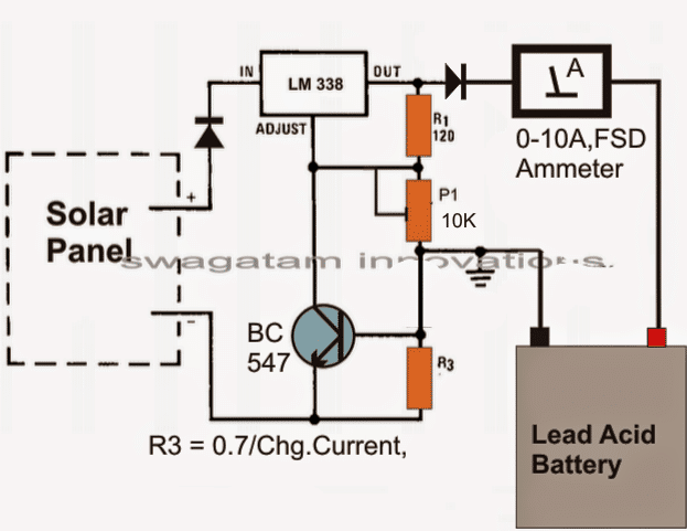 Simple solar battery charger homemade circuit projects the circuit diagram shows a simple set up using the ic lm 338 which has been configured in its standard regulated power supply mode swarovskicordoba Image collections