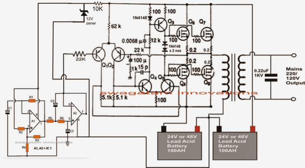 Make This 1KVA (1000 watts) Pure Sine Wave Inverter Circuit