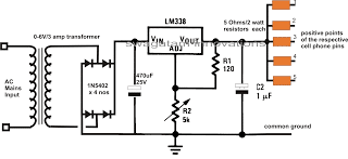 DC Multi Cell Phone Charger Circuit Using LM338 IC