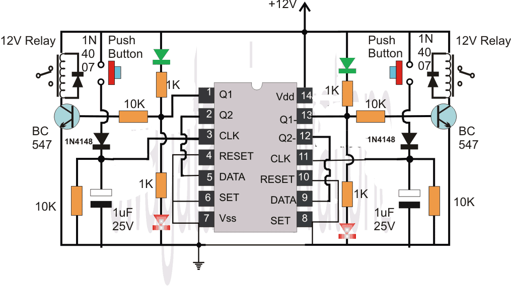 IC 4013 flip flop circuit diagram