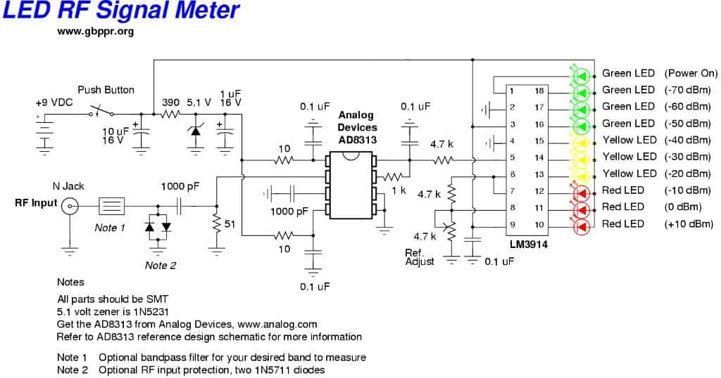 RF Signal Meter Circuit | Homemade Circuit Projects