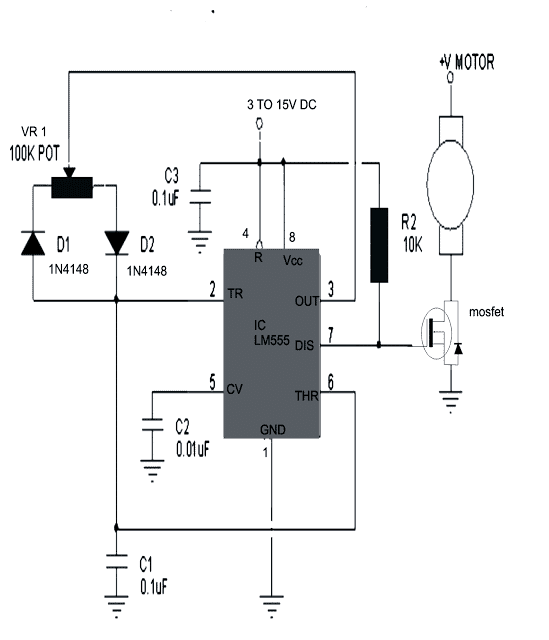 IC 555 potentiometer based DC motor speed controller