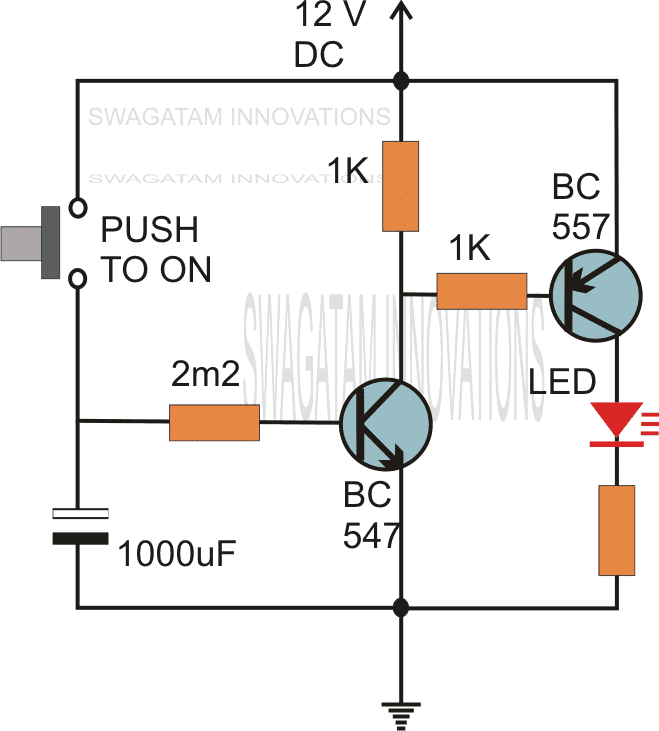 simple delay timer circuits explained homemade circuit projects rh homemade circuits com on delay timer circuit diagram off delay timer circuit diagram