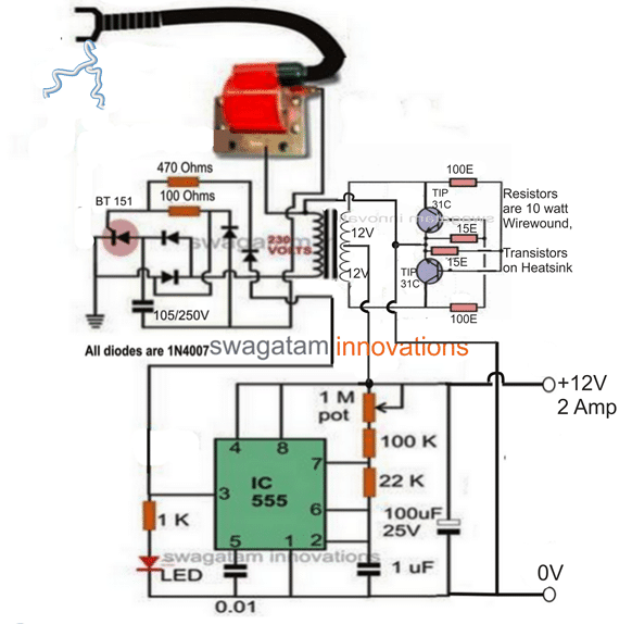 Solar Powered Fence Charger Circuit
