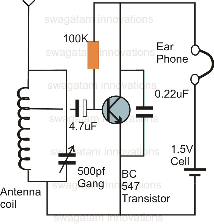 single transistor radio receiver homemade circuit projects