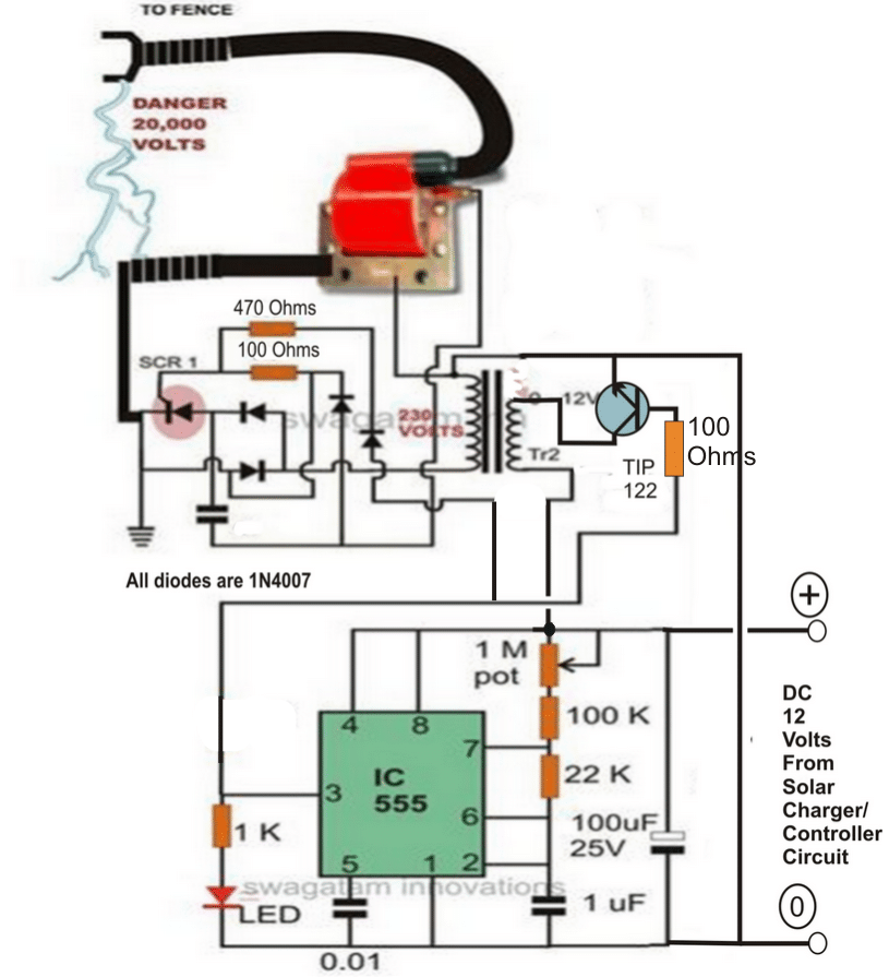 Make this solar powered fence charger homemade circuit projects the above circuit can be powered through the following solar panel current controlled battery charger circuit publicscrutiny Choice Image