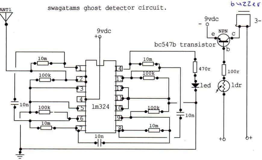 LM324 based ghost detector circuit diagram