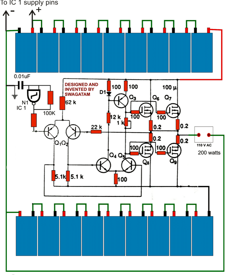 How to Make a 200 Watt Transformerless Inverter Circuit