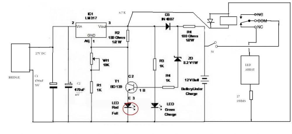 12v battery charger circuits  using lm317  lm338  l200  transistors