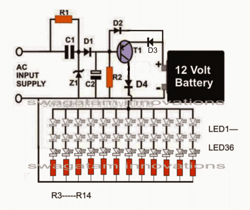 Smd Led Based Emergency Lamp Circuit Homemade Circuit Projects