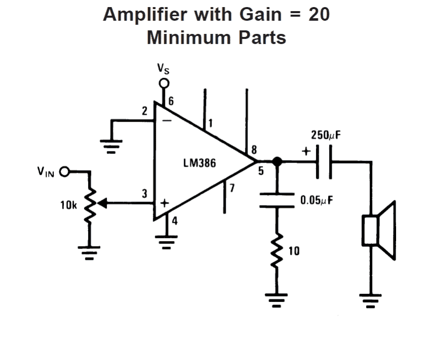 LM386 amplifier circuit with gain 20