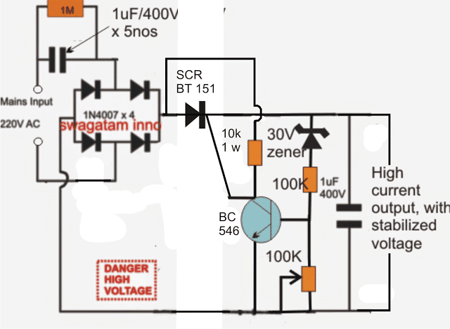 5V 500Ma Power Supply Circuit Diagram | High Current Transformerless Power Supply Circuit Homemade Circuit