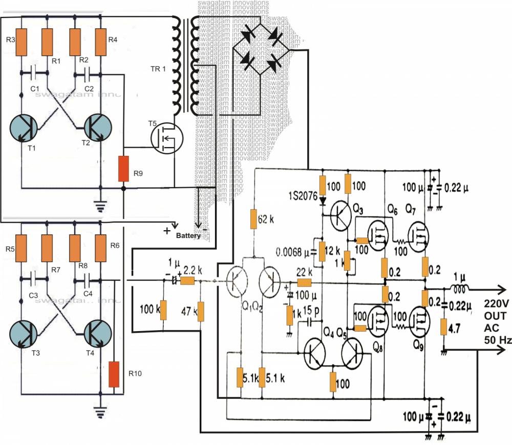 Making A 200 Watt Compact Pwm Inverter Using Ferrite Transformer Ckt Diagram Of Improved Version
