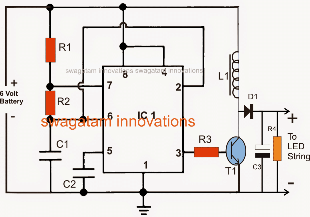 Led Emergency Light Using Boost Converter 12 Volt Battery Charger Schematic Http Homemadecircuitsandschematics Circuit Ic 555