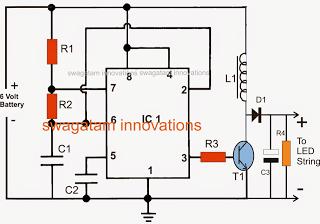 boost LED emergency light circuit using IC 555