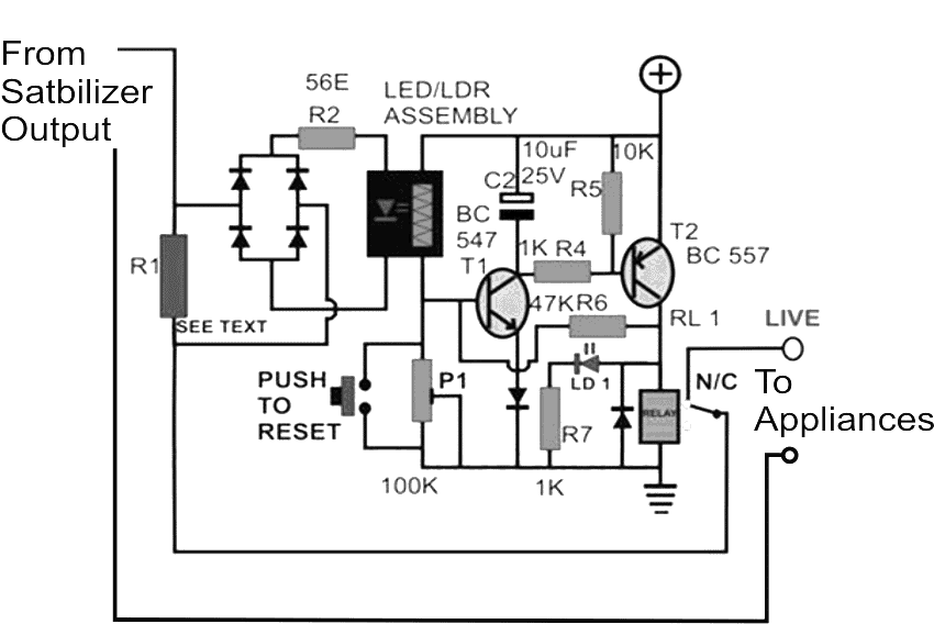 mains ac overload protection circuit for voltage