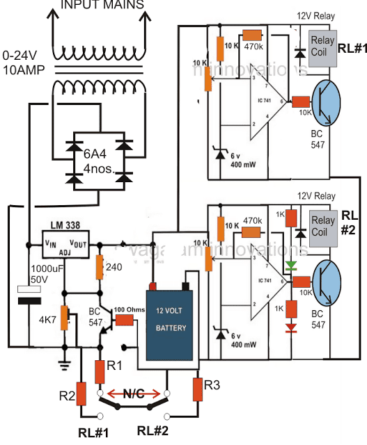 3 Step Battery Charger Circuit Automatic changeover using relays