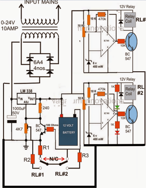 3 Step Automatic Battery Charger Controller Circuit