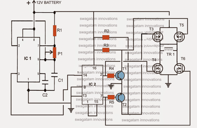 H-bridge simple modified sine wave inverter circuit