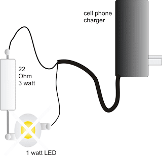 1 Watt LED Driver Circuit Using a Cell Phone Charger