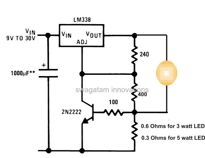 3 Watt 5 Watt Led Dc To Dc Constant Current Driver Circuit Homemade Circuit Projects