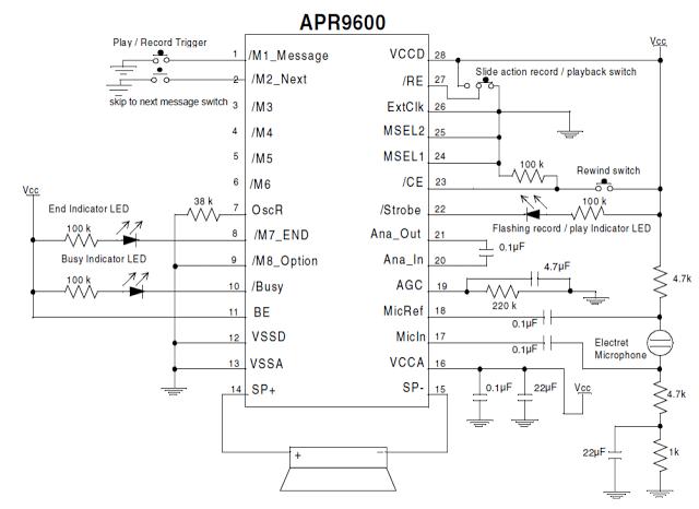 Single Chip Programmable Voice/Audio Recorder Circuit