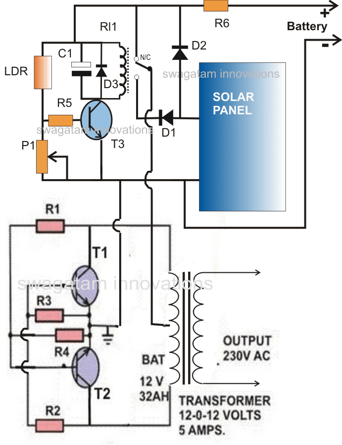 Battery Power Inverter Wiring Diagram from homemade-circuits.com