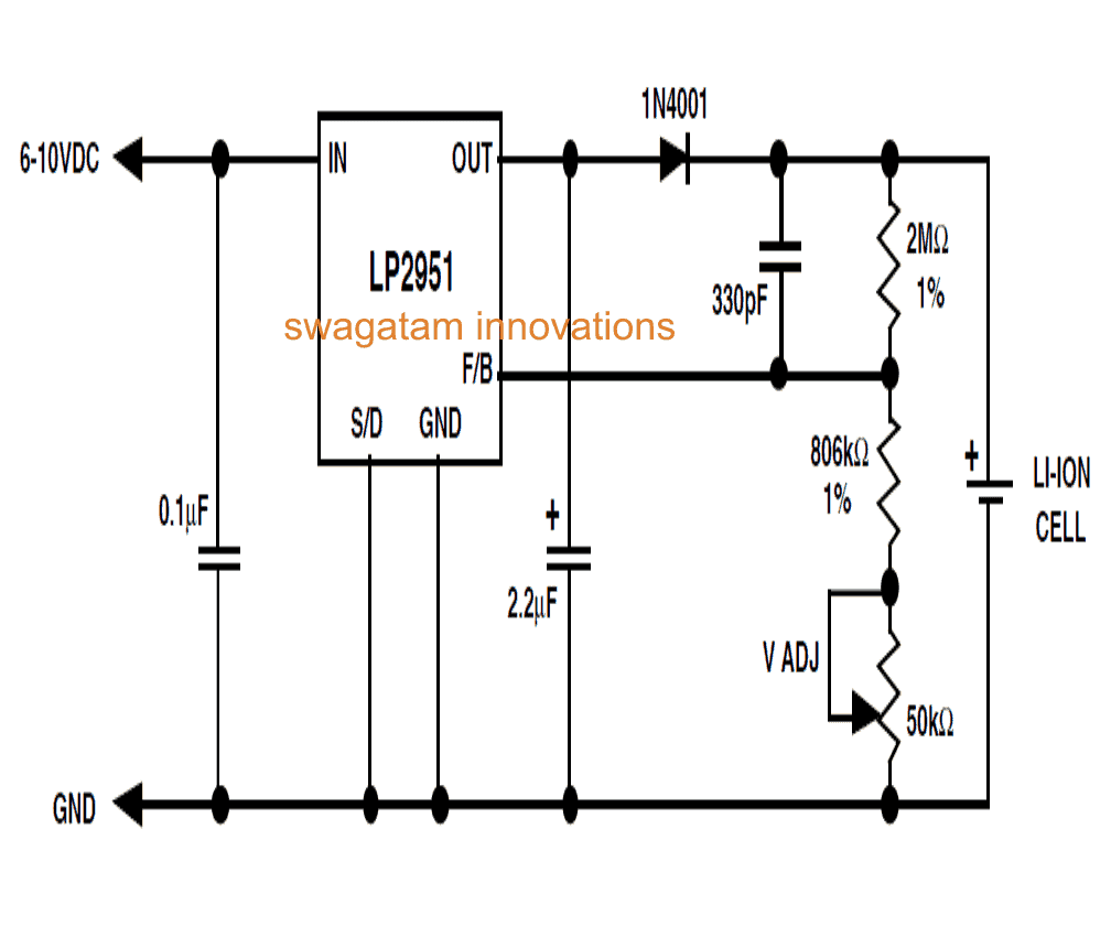 Li-Ion battery charger using  just a single IC LP2951